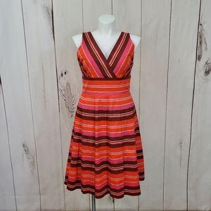 Talbots Striped Dress Tea Length A Line Size 14